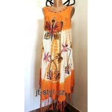ddf824a539fe Indické šaty ruční batika Motýl květy třásně oranžová