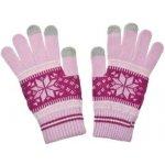 Nordic dámske rukavice na dotykový displej pink