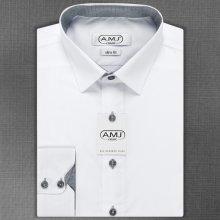 AMJ Pánská košile bílá jednobarevná JDSR18 20 809e527f9b