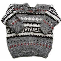 a0ced6c5221 Kojenecká mikina a svetr ručně pletený šedý svetr s norským vzorem
