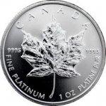 MAPLE LEAF Platinová mince 1 trojská unce platiny