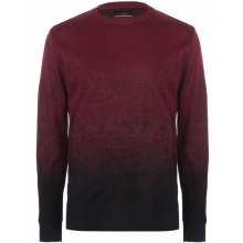 Pierre Cardin Dip Dye Crew Knit Mens Wine/Black