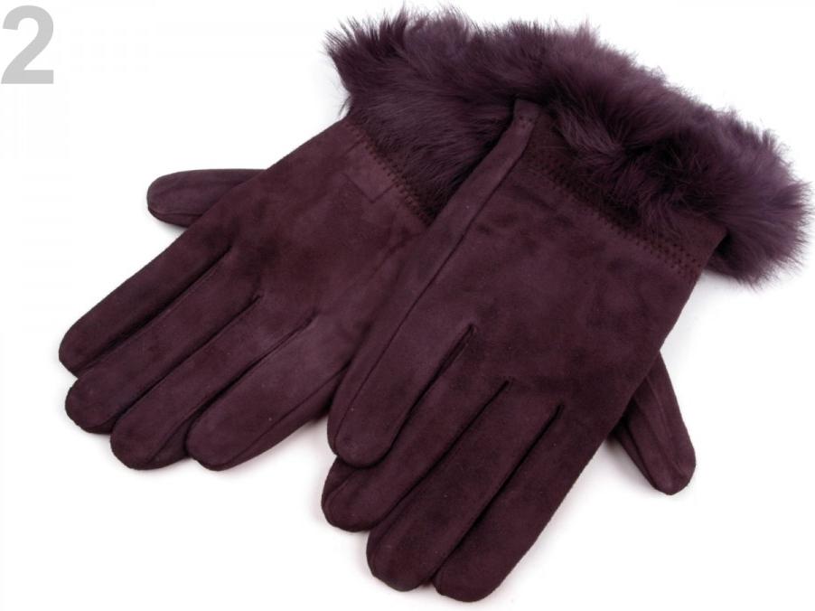 Dámské kožené rukavice s kožešinou fialová švestka 3pár alternativy -  Heureka.cz 422ac9c054