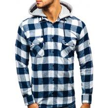 Tmavě modro-bílá pánská flanelová košile s dlouhým rukávem Bolf 1031 bbfb13bb9a
