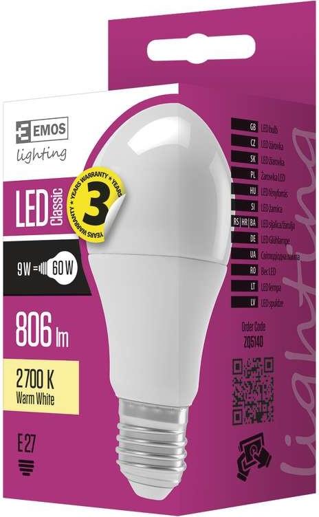 Recenze Emos LED žárovka Classic A60 9W E27 Teplá bílá