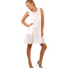 d2ac37916600 YooY bavlněné letní šaty s krajkou a výraznými kapsami 234328 bílá