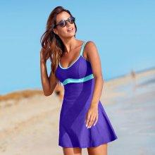 Blancheporte Jednodílné plavky se sukénkou fialová/tyrkysová