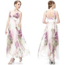 Ever Pretty Letní dámské společenské dlouhé šaty na ramínka s fialovými  květy 9351 54783fe89b