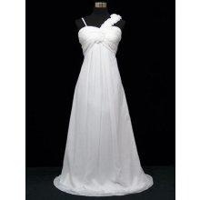 Bílé dlouhé svatební šaty se zdobeným ramenem i pro těhotné