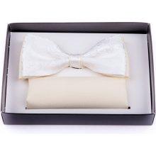 Assante Svatební motýlek šampaň ekry s kapesníčkem 90250