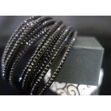 Shine bižuterní textilní náramek s krystalky černý TN001