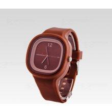 Silikon Watch Square hnědé