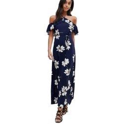 58dd23a58fc Ax Paris dlouhé letní šaty s potiskem bilých květů tmavě modrá ...