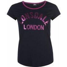Lonsdale Logo T Shirt Ladies Navy