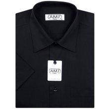 AMJ Slim fit pánská košile s krátkým rukávem Černá JKS017