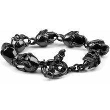 Trendhim Černý gotický ocelový náramek s lebkami G3-7-5772