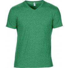 Tričko V-výstřih Zelená žíhaná