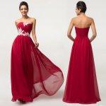 Grace Karin společenské šaty s bílou krajkou CL6107-4 červená