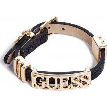 GUESS náramek Black and Gold-Tone Logo Friendship Bracelet P220892956A
