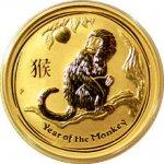Lunární 2016 Zlatá investiční mince Year of the Monkey Rok Opice 1/4 Oz