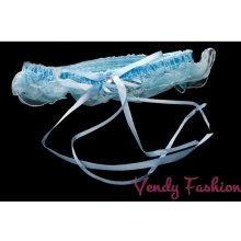 Podvazek svatební modrý se suchým zipem VFP-21