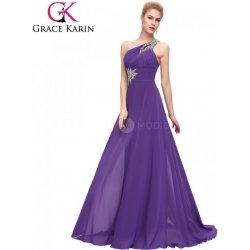 b65bae390 Grace Karin Fialové plesové šaty se zdobeným ramínkem CL2949-4 Fialová