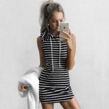 44a78acd503 Dámské sexy mini šaty tunika klokanka s kapucí bez rukávů tenká černobílá  pruhy