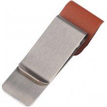 Spona na peníze Stříbrno - hnědá Leather
