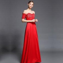 Dorisqueen luxusní saténové šaty s jemně zdobeným živůtkem DQ1502 červená ec746bd4d6f
