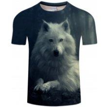 23c106e971c UNISEX 3D potisk tričko triko krátký rukáv Bílý vlk pes
