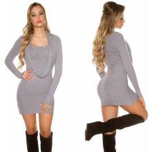 ec718f235602 Koucla dámské pletené mini šaty s kamínky šedá