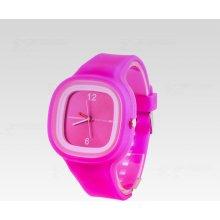 Silikon Watch Square sytě růžové