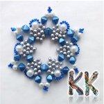 Vánoční hvězda, Barva Modrá Korálky Katlas