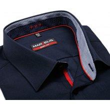Marvelis Body Fit – tmavomodrá košile s modro-červeným vnitřním límcem a  légou 78e71fd9f5