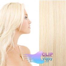 Clip in vlasy REMY - platinově blond #60