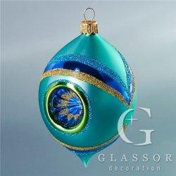 Vánoční ozdoby - Oliva tyrkysová s posypem