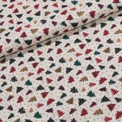 4c9ff028bf75 Bavlněné plátno vánoční D0557 stromečky na smetanové