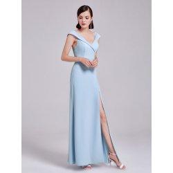 Dlouhé luxusní společenské šaty pouzdrové s rozparkem na svatbu na ples světle  modrá d6a9dfc8055