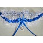 Bílo - tmavě modrý svatební podvazek se srdíčkem