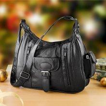 kožená kabelka Patchwork černá černá