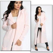 Fashionweek Neobvyklý pletený svetr kabát s kapucí MAXI Lux světle růžová d78d4efc5a