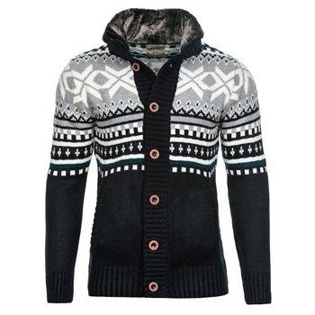 Carisma Pánský pletený svetr s norským vzorem navy