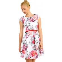 Áčkové dámské retro šaty s květinovým potiskem 316301 bílá 113f7212ad