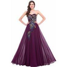Grace Karin luxusní společenské šaty s vyšívaným vzorem pavích per vínová b6759d248d
