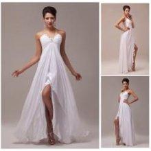 Bílé plesové šaty s průhlednými zády