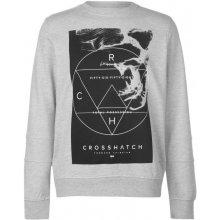 Crosshatch Zerrick Crew Sweater Mens Lt Grey Marl