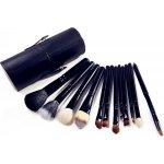 4HAUS Profesionální sada 12 kosmetických štětců Make-Up s koženým pouzdrem - černá