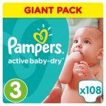 Pampers Active Baby-Dry 3 Midi 5-9 kg 108 ks