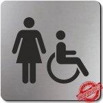 Piktogram WC invalida 1 , stříbrný 100x100 mm, Oregon