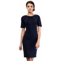 7b2f7dd1a23 MOE dámské společenské šaty s krátkým rukávem tmavě modrá ...